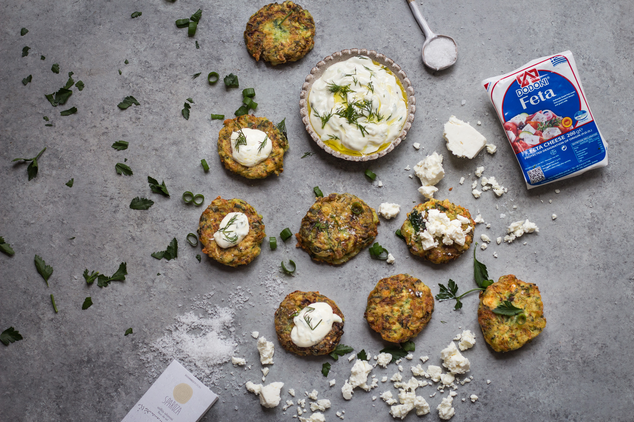 GREEK KOLOKITHOKEFTEDES (ZUCCHINI, FETA AND HERB FRITTERS) GLUTEN FREE RECIPE 3