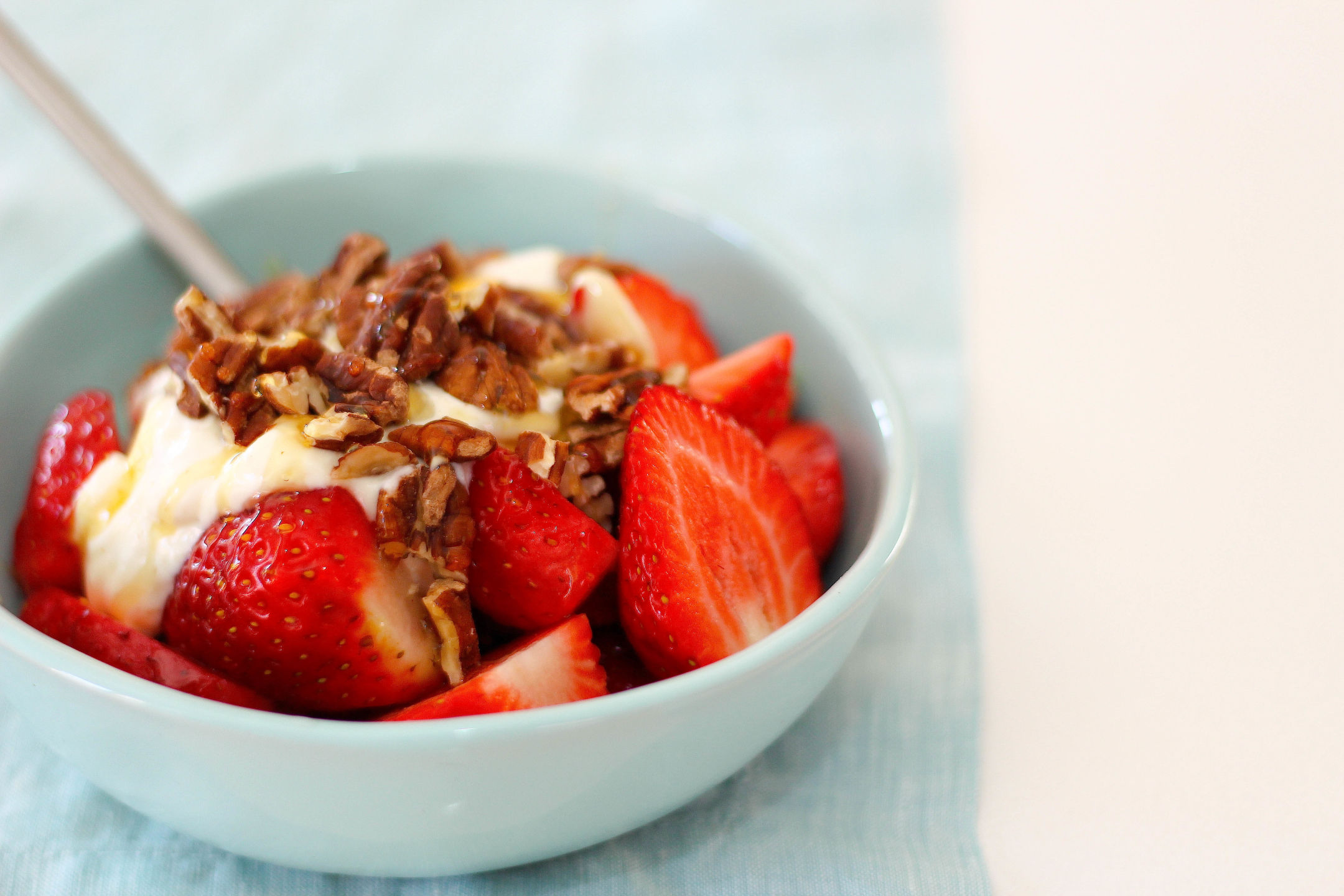 Organic Strawberries with Greek Yoghurt, Honey, Pecans Gluten Free 2-1