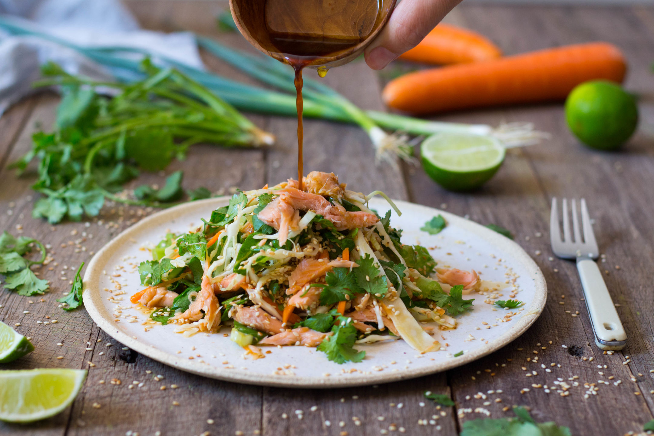 Smoked Trout and Asian Slaw Salad Gluten Free 3-3909