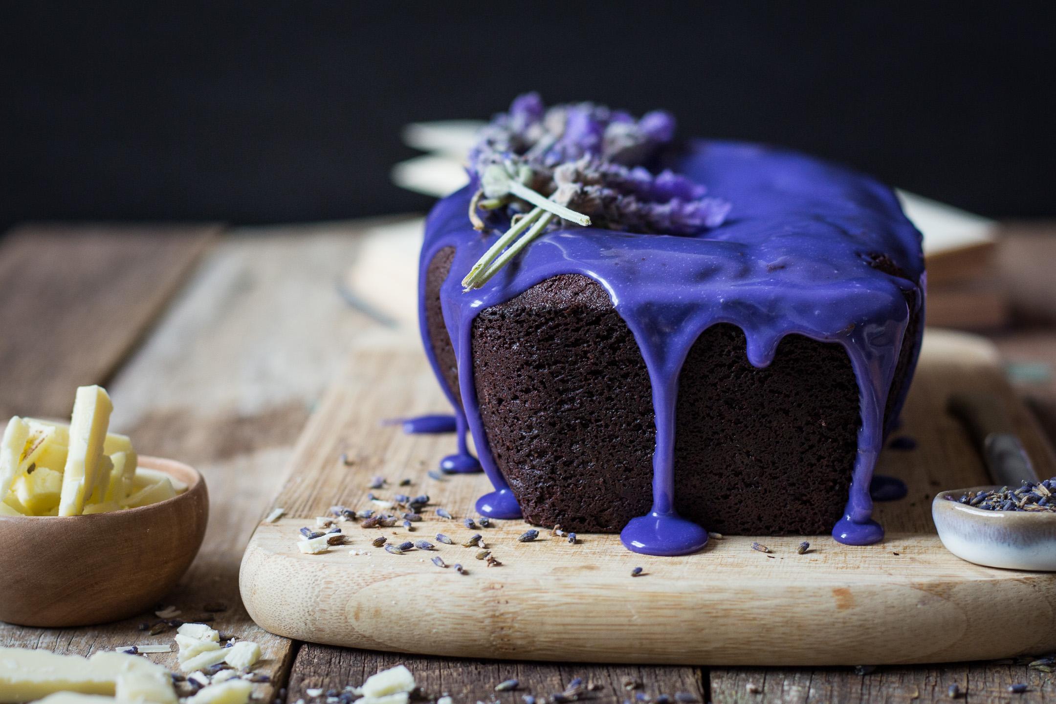 Chocolate Pound Cake with Lavendar Glaze Gluten Free IMG_4888