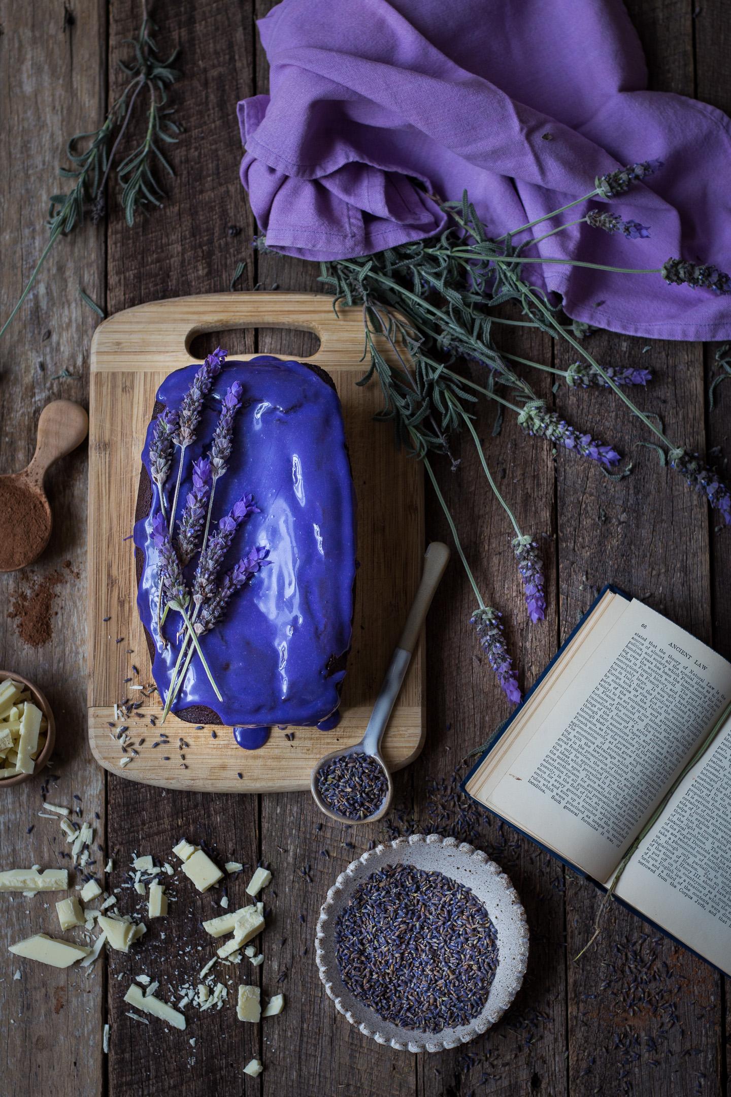 Chocolate Pound Cake with Lavendar Glaze Gluten Free IMG_4916