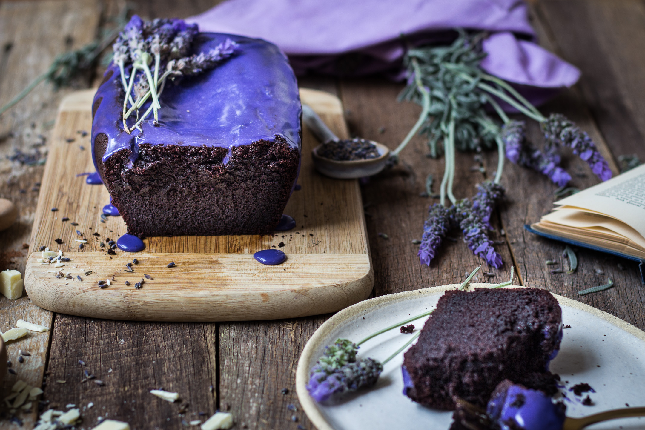 Chocolate Pound Cake with Lavendar Glaze Gluten Free IMG_4945